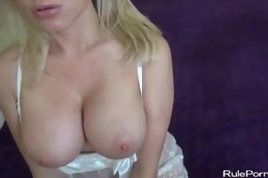 Gagging blonde with perfect tits fucked in POV