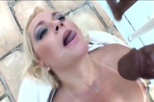 Big Breasted Blonde Bangs His Big Black Dick