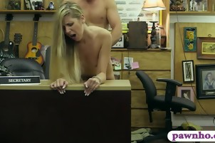 Small tits blonde pounded by pawn keeper at the pawnshop