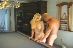 Hot Blonde Sucks And Fucks On The Pooltable