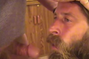 Hairy Grizzly Adams Plays With His Hard Dick