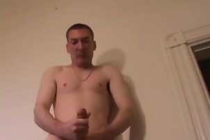 Horny Dude Strokes His Meat Pole On Home Video