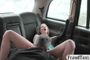 Sexy passenger anal banged by big cock in the backseat