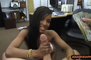 Naughty amateur ebony babe gets fucked by pawn keeper