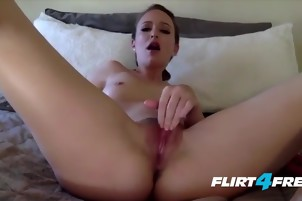 Petite Babe Vibrates Her Pussy With a Pink Pleasure Tool