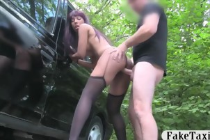Ebony in stockings drilled by nasty driver in public