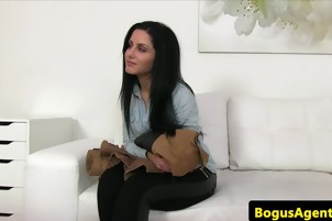 Brunette Babe Sucks On Some Cock On Casting Couch