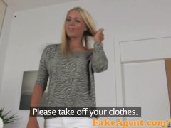 FakeAgent Blonde student gets juicy Creampie in Casting interview