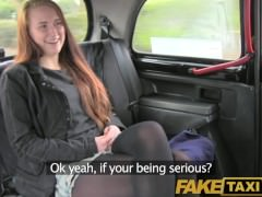 FakeTaxi Brunette student take sex for cash offer from driver