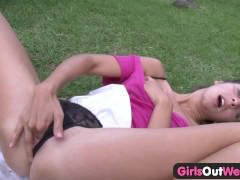 Girls Out West - Amateur teenie fingers her hairy muff