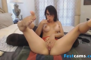 Brunette milf playing