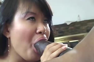 Chubby Asian Harlot Takes A Thick Black Dick In Her Hairy Cooch