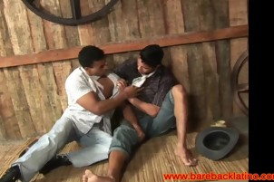 Brunette Dude Gets Fucked By Another In Barn