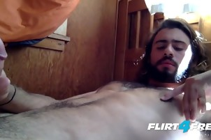 Guy Plays With His Hard Cock While You Watch