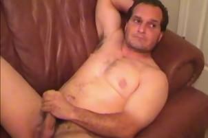 Big Dick Guy Masturbates His Long Pole At Home