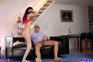 Black Haired Lady Gives A Big Dick Blowjob