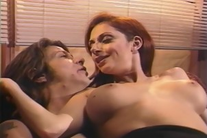 Redhead And Brunette Suck And Fuck Big Penises