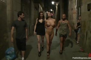 Hot Friends Play In A Public Place And Show Off