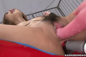Japanese Girl Is Toyed In Both Holes By A Man