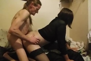 Old guy and a transvestite having old fashion good sex