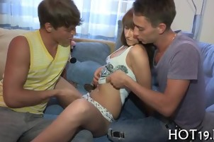 Teen deep throat fellatio