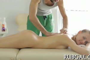 Nymph mixes massage and sex scene