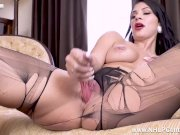 Busty babe Roxy Mendez has kinky pantyhose action wanking with dildo toy